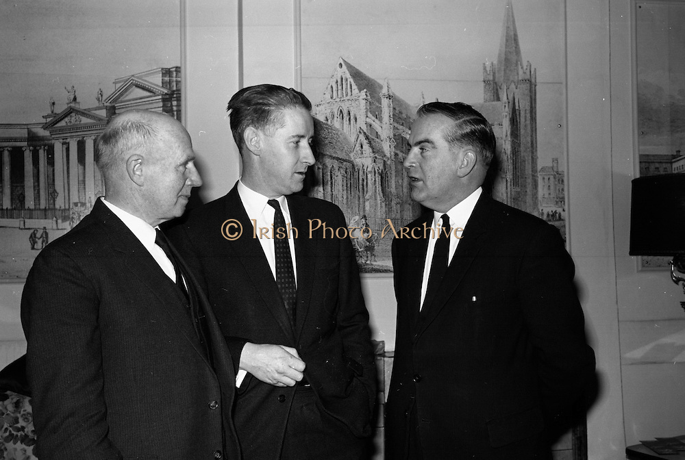 Cork Film Festival Press Reception. Pictured are Mayor F. O'Donoghue, Cork Festival Council; Mr. J.A. O'Brien (Special Events Officer, Bord Failte); annd Mr. Dermot Breen, Director..03.04.1964