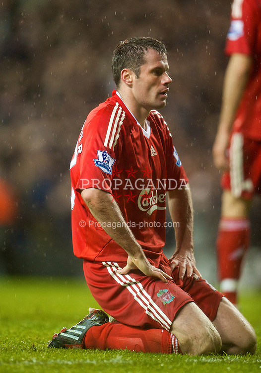 LONDON, ENGLAND - Saturday, November 1, 2008: Liverpool's Jamie Carragher looks dejected as he gifts an undeserved victory to Tottenham Hotspur after scoring an own goal equaliser during the Premiership match at White Hart Lane. (Photo by David Rawcliffe/Propaganda)