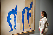 "Sophie Matisse, the artist's great grandaughter, launches the show - here with Acrobats.Tate Modern's new exhibition, Henri Matisse: The Cut-Outs, is devoted to the artist's paper cut-outs made between 1943 and 1954. It brings together around 120 works, many seen together for the first time, in a ""groundbreaking"" reassessment of Matisse's colourful and innovative final works. The exhibition opens at Tate Modern on 17 April 2014. They were collected together in Jazz 1947 (Pompidou, Paris), a book of 20 plates. And this will be the first time that the maquettes and the book have been shown together outside of France. Other major cut-outs in the exhibition include Tate's The Snail 1953, its sister work Memory of Oceania 1953 and Large Composition with Masks 1953. The show also includes the largest number of Matisse's Blue Nudes ever exhibited together, including the most significant of the group Blue Nude I 1952. Tate Britain, London, UK."