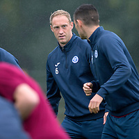 St Johnstone Training....21.09.15<br /> Steven Anderson talks with Graham Cummins during training this morning at McDiarmid Park<br /> Picture by Graeme Hart.<br /> Copyright Perthshire Picture Agency<br /> Tel: 01738 623350  Mobile: 07990 594431