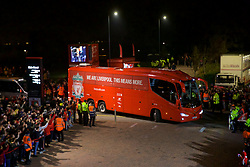 LIVERPOOL, Nov. 6, 2019  Liverpool's team bus arrives before the UEFA Champions League Group E match soccer between Liverpool FC and KRC Genk at Anfield in Liverpool, Britain on Nov. 5, 2019.  FOR EDITORIAL USE ONLY. NOT FOR SALE FOR MARKETING OR ADVERTISING CAMPAIGNS. NO USE WITH UNAUTHORIZED AUDIO, VIDEO, DATA, FIXTURE LISTS, CLUB/LEAGUE LOGOS OR ''LIVE'' SERVICES. ONLINE IN-MATCH USE LIMITED TO 45 IMAGES, NO VIDEO EMULATION. NO USE IN BETTING, GAMES OR SINGLE CLUB/LEAGUE/PLAYER PUBLICATIONS. (Credit Image: © Han Yan/Xinhua via ZUMA Wire)