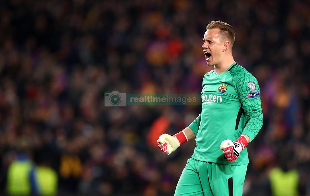 Barcelona goalkeeper Marc-Andre Ter Stegen celebrates his side's second goal of the game