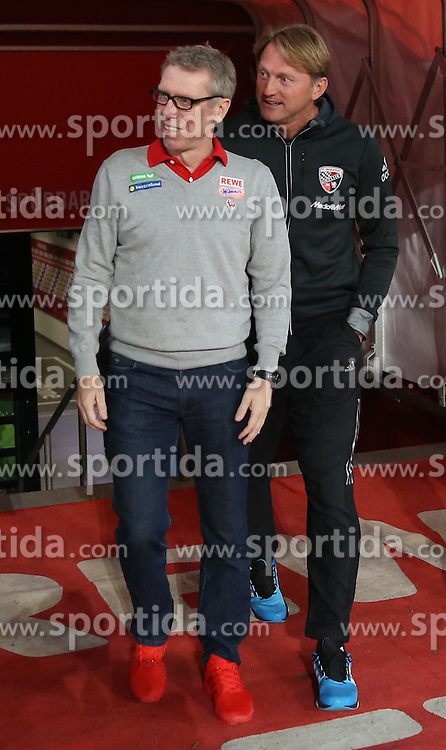 22.09.2015, Audi Sportpark, Ingolstadt, GER, 1. FBL, FC Ingolstadt 04 vs Hamburger SV, 6. Runde, im Bild Trainer Ralph Hasenhuettl (FC Ingolstadt) und Trainer Peter Stoeger (1. FC Koeln) // during the German Bundesliga 6th round match between FC Ingolstadt 04 and Hamburger SV at the Audi Sportpark in Ingolstadt, Germany on 2015/09/22. EXPA Pictures &copy; 2015, PhotoCredit: EXPA/ Eibner-Pressefoto/ Schueler<br /> <br /> *****ATTENTION - OUT of GER*****