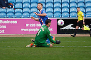 Carlisle United Forward Hallam Hope hits the shot saved by Mansfield Town Goalkeeper Scott Shearer during the Sky Bet League 2 match between Carlisle United and Mansfield Town at Brunton Park, Carlisle, England on 9 April 2016. Photo by Craig McAllister.