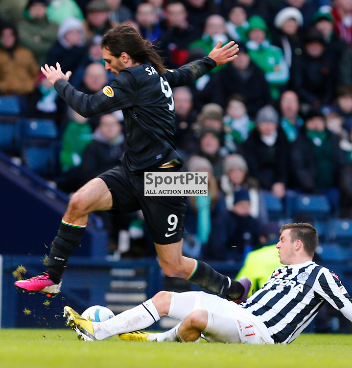 ST.MIRREN v CELTIC Scottish Communities League Cup Semi Final Hampden..Georgio Samaras leaps across Graham Carey.......(c) STEPHEN LAWSON | StockPix.eu