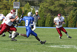 12 October 2002: Matt Miller makes a sweeping move out of the left side of the backfield.  Eastern Illinois University Panthers host and defeat the Colonels of Eastern Kentucky during EIU's Homecoming at Charleston Illinois.