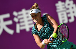 TIANJIN, Oct. 8, 2018  Alison Riske of the United States competes during the women's singles first round match against Veronika Kudermetova of Russia at the WTA Tianjin Open tennis tournament in Tianjin, north China, Oct. 8, 2018. Alison Riske lost 1-2. (Credit Image: © Li Ran/Xinhua via ZUMA Wire)