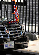 © licensed to London News Pictures. LONDON, UK  24/05/11. The President's car waits outside No 10. Barack Obama, and Michelle Obama are met by David Cameron and Samantha Cameron in Downing Street during US President Obama's first State Visit to the United Kingdom. Please see special instructions. Photo credit should read Stephen Simpson/LNP