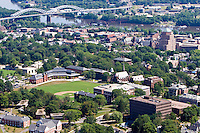 Aerial of Wesleyan Universitiy campus and Connecticut River at Middletown, CT
