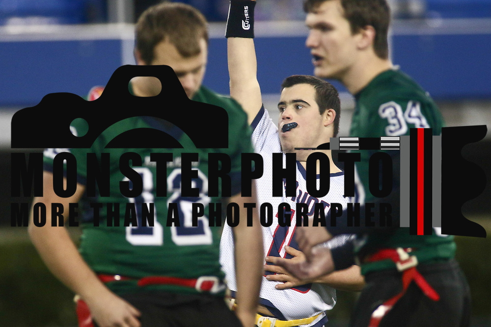 Eric	Anderson celebrates after scoring a touch down pass during the inaugural Special Olympics DIAA Unified Flag Football Championship game, Newark Charter defeated McKean 35-28 Saturday, Dec. 03, 2016 at Delaware Stadium in Newark.