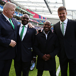 BRIGHTON, ENGLAND - SEPTEMBER 19: Supersport rugby commentator team during the Rugby World Cup 2015 Pool B match between South Africa and Japan at Brighton Community Centre on September 19, 2015 in Brighton, England. (Photo by Steve Haag/Gallo Images)