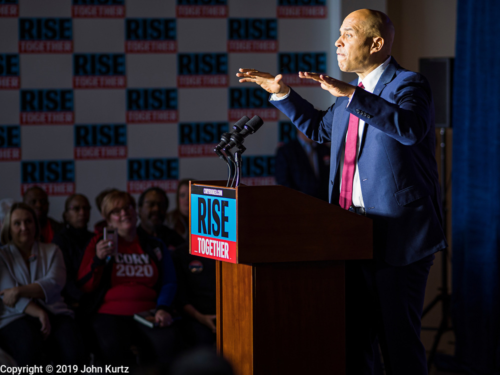 05 DECEMBER 2019 - DES MOINES, IOWA: US Senator CORY BOOKER (D-NJ) speaks during a campaign event in Des Moines Friday. He talked about the need to reunify the country. Senator Booker is running to be the Democratic nominee for the US Presidency in 2020. Iowa hosts the first selection event of the presidential election season. The Iowa caucuses are February 3, 2020.    PHOTO BY JACK KURTZ