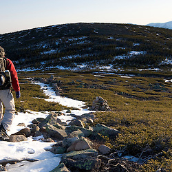 A backpacker on the Appalachian Trail on Mt. Guyot in New Hampshire's White Mountains.  The Twinway.  Mt. Washiington is in the distance.  Early spring.  Sunrise.