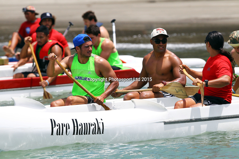 Bryn Hall, The Blues players set out in canoes during a super rugby pre season training session, Takapuna Beach, Auckland. 9 January 2015. Copyright Photo: William Booth/www.photosport.co.nz
