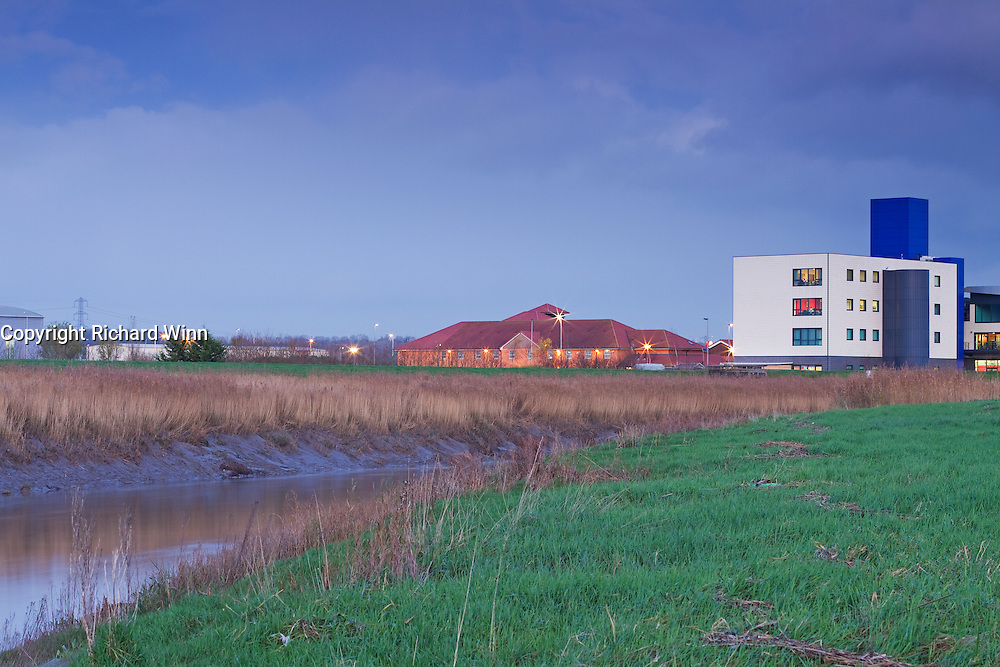 Bristol Road Industrial Estate, Bridgwater, with the River Parrett in the foreground just before sunset, showing how nature and industry can be so closely associated, with potential conflict.