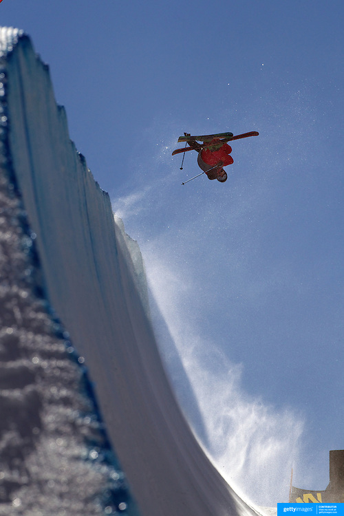 Klaus Finne, Norway, in action in the Halfpipe Finals during The North Face Freeski Open at Snow Park, Wanaka, New Zealand, 3rd September 2011. Photo Tim Clayton...