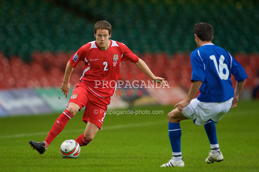 CARDIFF, WALES - Friday, September 5, 2008: Wales' Chris Gunter in action against Azerbaijan during the opening 2010 FIFA World Cup South Africa Qualifying Group 4 match at the Millennium Stadium. (Photo by David Rawcliffe/Propaganda)