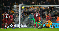 WOLVERHAMPTON, ENGLAND - Thursday, January 23, 2020: Wolverhampton Wanderers' Diogo Jota puts his shot over the bar during the FA Premier League match between Wolverhampton Wanderers FC and Liverpool FC at Molineux Stadium. (Pic by David Rawcliffe/Propaganda)