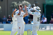 Five wickets for Ed Barnard of Worcestershire - Ed Barnard of Worcestershire celebrates taking the wicket of Josh Davey of Somerset during the Specsavers County Champ Div 1 match between Somerset County Cricket Club and Worcestershire County Cricket Club at the Cooper Associates County Ground, Taunton, United Kingdom on 20 April 2018. Picture by Graham Hunt.