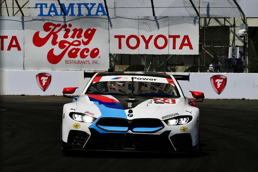#24 BMW Team RLL BMW M8, GTLM: John Edwards, Jesse Krohn<br /> Saturday 14 April 2018<br /> BUBBA burger Sports Car Grand Prix at Long Beach<br /> Verizon IndyCar Series<br /> Streets of Long Beach CA USA<br /> World Copyright: Scott R LePage<br /> LAT Images