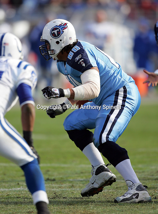NASHVILLE, TN - DECEMBER 3:  Jacob Bell #60 of the Tennessee Titans blocks against the Indianapolis Colts at LP Field on December 3, 2006 in Nashville, Tennessee. The Titans defeated the Colts 20-17. ©Paul Anthony Spinelli *** Local Caption *** Jacob Bell
