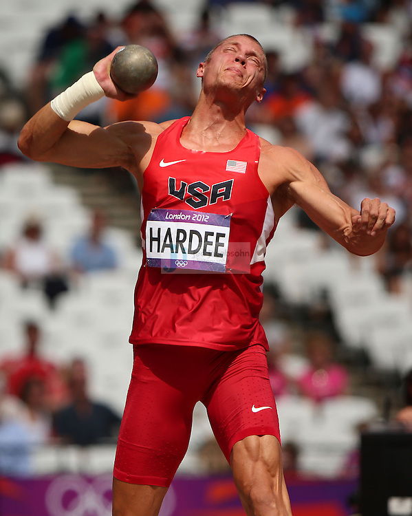 Trey Hardee of the USA throws during the shot put portion of the decathlon during track and field at the Olympic Stadium during day 12 of the London Olympic Games in London, England, United Kingdom on August 8, 2012..(Jed Jacobsohn/for The New York Times)..