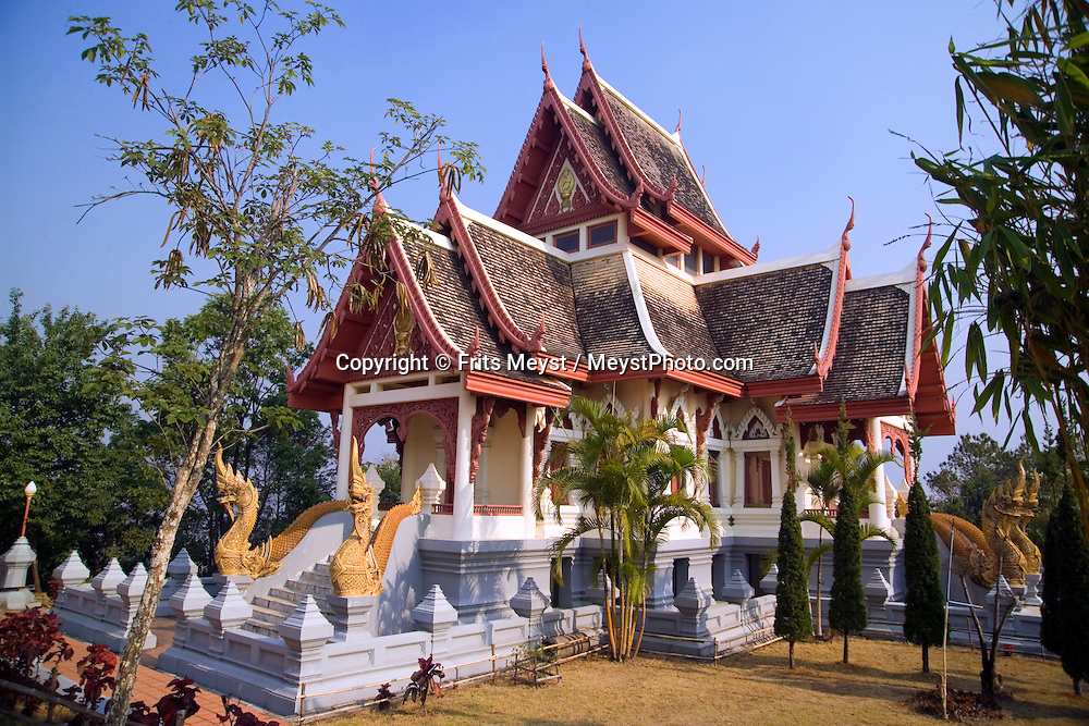 Doi Mae Salong, Chiang Rai, Northern Thailand, March 2007. A Buddhist temple overlooks the village. The province of Chiang Rai offers a variety of activities, like mountain biking, trekking and elephant and longtail boat riding  in a mountainous landscape carved out by big rivers. Photo by Frits Meyst/Adventure4ever.com