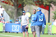 Jan 23, 2019; Kissimmee, FL, USA;  Dallas Cowboys wide receiver Amari Cooper (19) and Tampa Bay Buccaneers wide receiver Mike Evans (13) at the NFC team practice at the 2019 Pro Bowl at ESPN Wide World of Sports Complex. (Kim Hukari/Image of Sport)