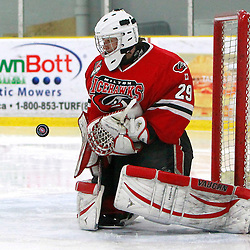 TORONTO, ON - Feb 16 : Ontario Junior Hockey League Game Action between the Milton Ice Hawks and the Toronto Jr. Canadiens, Tyler Lewis  #29 of the Milton Ice Hawks Hockey Club makes the save during third period game action.<br /> (Photo by Brian Watts / OJHL Images)