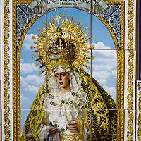 Tile painting of Nuestra Señora Esperanza. Ceramics shop in Triana, 'Ceramica Santa Ana,' San Jorge 31, +954-33-39-90. Seville, Andalusia, Spain.