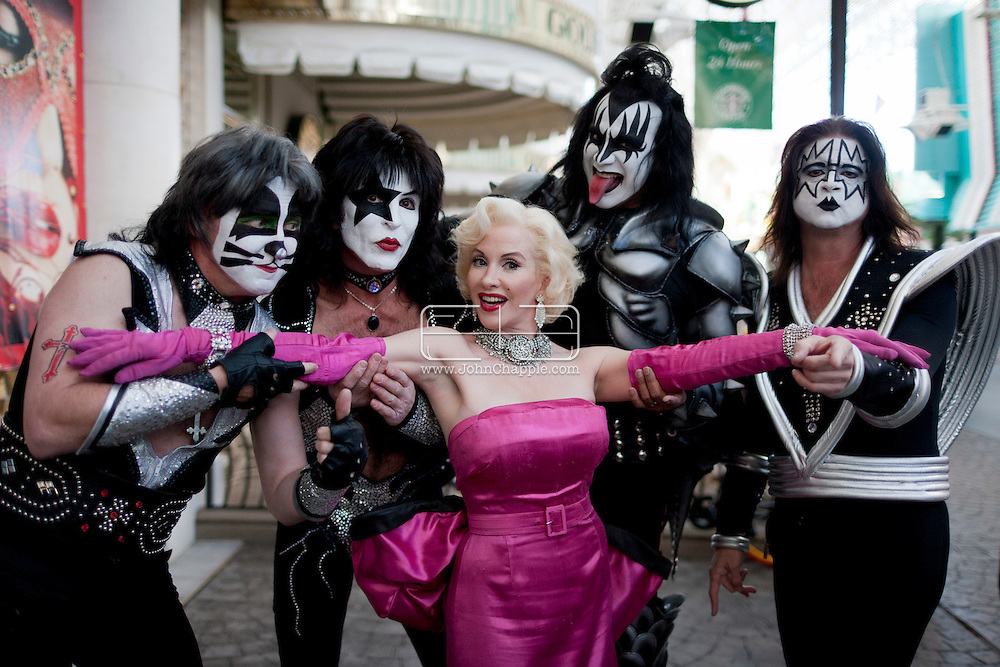 February 20th, 2012, Las Vegas, Nevada. The 21st Annual Reel Awards in Las Vegas where celebrity lookalikes show off their talents. Pictured is Janet Valentine as Marilyn Monroe with a KISS tribute band..PHOTO © JOHN CHAPPLE / www.johnchapple.com.