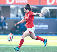 Robyn Wilkins of Wales restarts<br /> <br /> Photographer Simon King/Replay Images<br /> <br /> Six Nations Round 3 - Wales Women v England Women - Sunday 24th February 2019 - Cardiff Arms Park - Cardiff<br /> <br /> World Copyright © Replay Images . All rights reserved. info@replayimages.co.uk - http://replayimages.co.uk