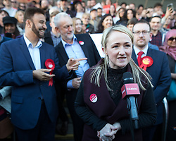 © Licensed to London News Pictures . 05/05/2017. Manchester, UK.  REBECCA LONG-BAILEY speaks in Manchester following Andy Burnham's victory in the Manchester Metro mayoralty campaign , for a Momentum Rally on the steps of the Manchester Convention Centre . Andy Burnham did not attend . Photo credit: Joel Goodman/LNP