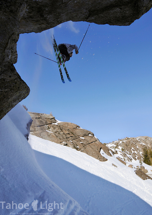 Jared Dalen during a freestyle ski session at Donner Summit, near Truckee, CA.