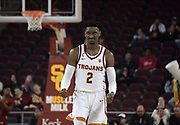 Southern California Trojans guard Jonah Mathews (2) celebrates during an NCAA basketball game against the Long Beach State 49ers  in Los Angeles, Nov 28, 2018. USC defeated Long Beach State 75-65.