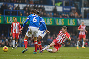 Accrington Stanley Forward, Billy Kee (29) wins the ball during the EFL Sky Bet League 2 match between Portsmouth and Accrington Stanley at Fratton Park, Portsmouth, England on 11 February 2017. Photo by Adam Rivers.