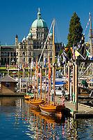 Victoria's inner harbour, British Columbia Parliament buildings in the background.  Victoria, British Columbia, Canada
