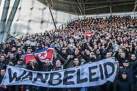 UTRECHT - FC Utrecht - Feyenoord , Voetbal , Seizoen 2015/2016 , Eredivisie , Stadion de Galgenwaard  , 28-02-2016, Supporters met spandoek Wanbeleid