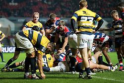 Joe Joyce of Bristol Rugby (hidden) scores a try - Rogan Thomson/JMP - 14/10/2016 - RUGBY UNION - Ashton Gate Stadium - Bristol, England - Bristol Rugby v Saracens - EPCR Challenge Cup.