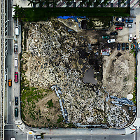Wide aerial view of the Tequesta archaeology site at the Met Square development in downtown Miami. Site managed by Archaeological and Historical Conservancy (AHC).