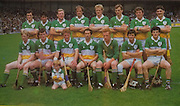 All Ireland Senior Hurling Championship Final,.Galway Vs Offaly,Offaly 2-11, Galway 1-12,.01.09.1985, 09.01.1985, 1st September 1985,.01091985AISHCF,.Pat Fleury captain, Joachim Kelly, Tom Conneely, Eugene Coughlan, Pat Delaney, Joe Dooley, Padraig Horan, Aidan Fogarty, .Front row, Danny Owens, Brendan Bermingham, Pat Cleary, Ger Coughlan, Jim Troy, Mark Corrigan, Paddy Corrigan,