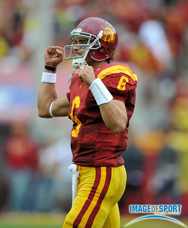 Nov 1, 2008; Los Angeles, CA, USA; Southern California Trojans quarterback Mark Sanchez (6) reacts after a touchdown in the first half against the Washington Huskies at the Los Angeles Memorial Coliseum. USC defeated Washington 56-0.
