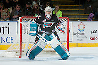 KELOWNA, CANADA - NOVEMBER 21: Jackson Whistle #1 of Kelowna Rockets defends the net against the Vancouver Giants on November 21, 2015 at Prospera Place in Kelowna, British Columbia, Canada.  (Photo by Marissa Baecker/Shoot the Breeze)  *** Local Caption *** Jackson Whistle;