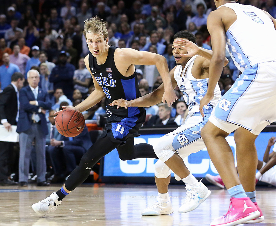 Duke guard Luke Kennard (5) drives towards the hoop during the semifinals of the 2017 New York Life ACC Tournament at the Barclays Center in Brooklyn, N.Y., Friday, March 10, 2017. (Photo by David Welker, theACC.com)