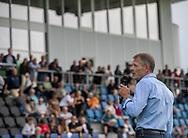Formand for Idræts- og Fritidsudvalget Jens Bertram taler ved indvielsen af Helsingør Kommunes nye stadion på Gl. Hellebækvej i Helsingør den 8. august 2019 (Foto: Claus Birch)