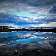 Maine tidal pools at sunset