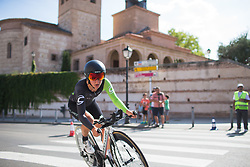 Jelena Eric (SRB) of Cylance Pro Cycling leans into the final corner on Stage 1 of the Madrid Challenge - a 12.6 km team time trial, starting and finishing in Boadille del Monte on September 15, 2018, in Madrid, Spain. (Photo by Balint Hamvas/Velofocus.com)
