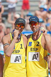 04.08.2013, Klagenfurt, Strandbad, AUT, A1 Beachvolleyball EM 2013, Finale Herren, Spiel 72, im Bild Pablo HERRERA 1 ESP / Adrián GAVIRA Collado 2 ESP<br />  // during Final match 72 of the A1 Beachvolleyball European Championship at the Strandbad Klagenfurt, Austria on 2013/08/04. EXPA Pictures © 2013, EXPA Pictures © 2013, PhotoCredit: EXPA/ Mag. Gert Steinthaler// during Final match 72 of the A1 Beachvolleyball European Championship at the Strandbad Klagenfurt, Austria on 2013/08/04. EXPA Pictures © 2013, EXPA Pictures © 2013, PhotoCredit: EXPA/ Mag. Gert Steinthaler