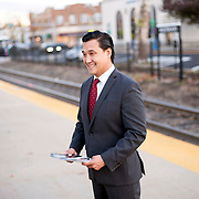 October 17, 2014 - Westwood, N.J. : Democrat Roy Cho campaigns at the Westwood NJ Transit station on Friday morning. A candidate for Congress from NJ's 5th District, Cho is challenging Rep. Scott Garrett in the upcoming November elections. CREDIT: Karsten Moran for The New York Times
