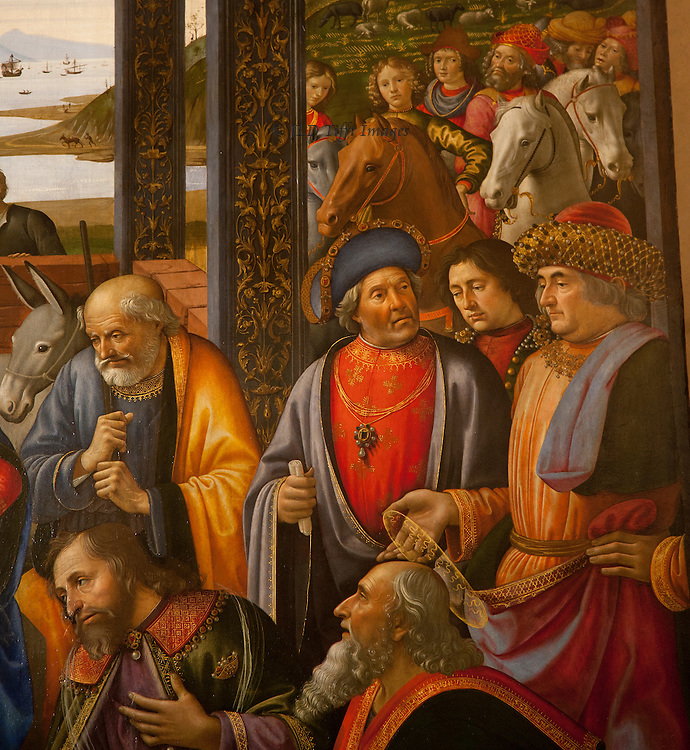 """Closeups of faces in the crowd in Ghirlandaio's Adoration of the Magi.  His style has stronger lines and more insistent detail than we have seen before.  Many are probably portraits of specific individuals.  As my friend Patsy said, """"they're so gossipy!"""""""